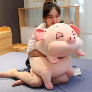 Géant cochon en peluche