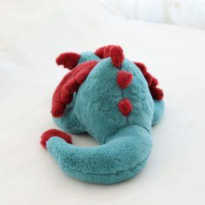 Peluche dragon bleu et rouge géant