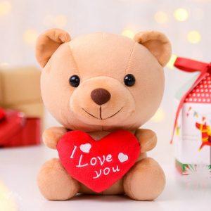 Petit ours en peluche avec un coeur