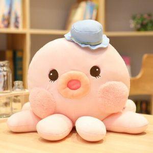 Peluche pieuvre chapeau rose