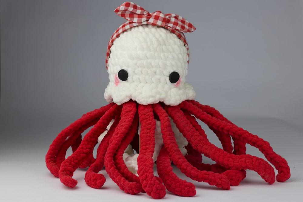 Peluche pieuvre rouge et blanche